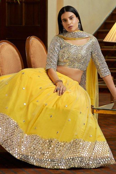 Yellow Designer Embellished Soft Net Lehenga