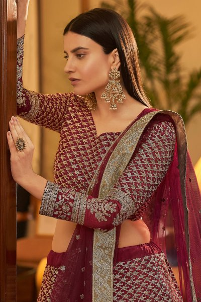 Maroon Designer Embellished Crepe Silk Lehenga