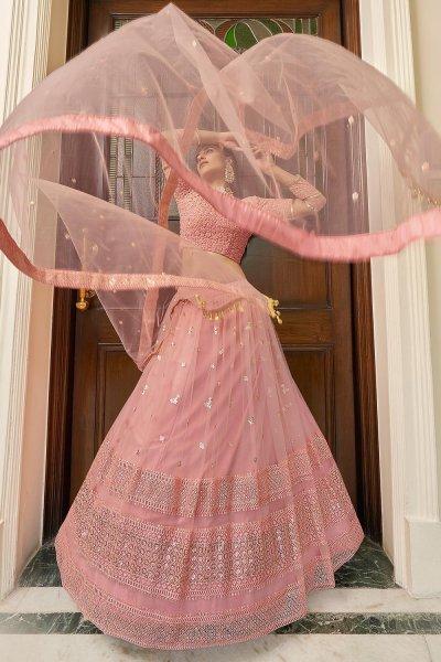 Peach Designer Embellished Soft Net Lehenga