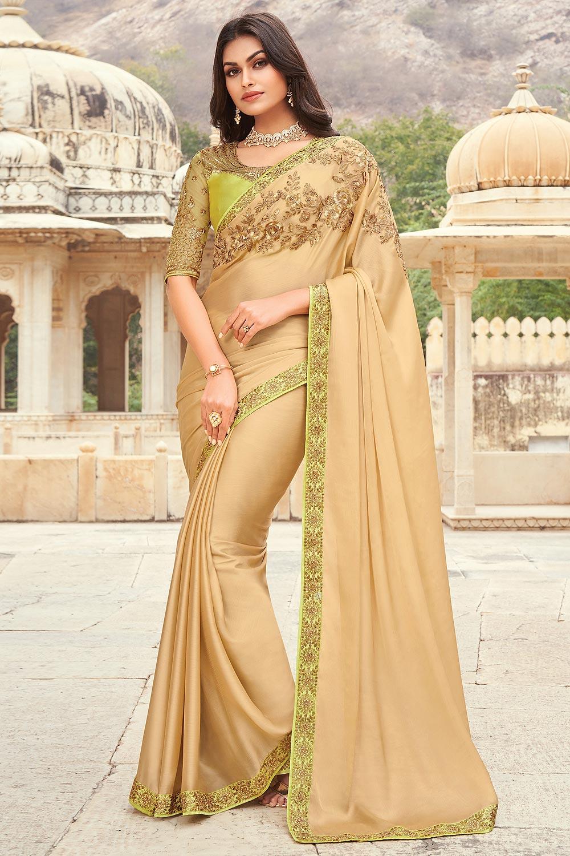 Beige Silk Embellished Designer Saree