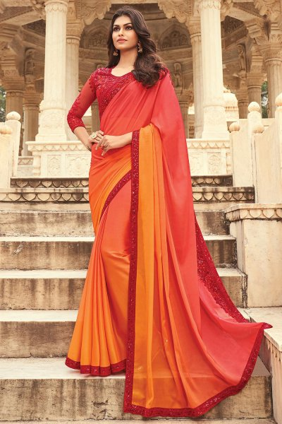 Orange & Red Silk Embellished Designer Saree
