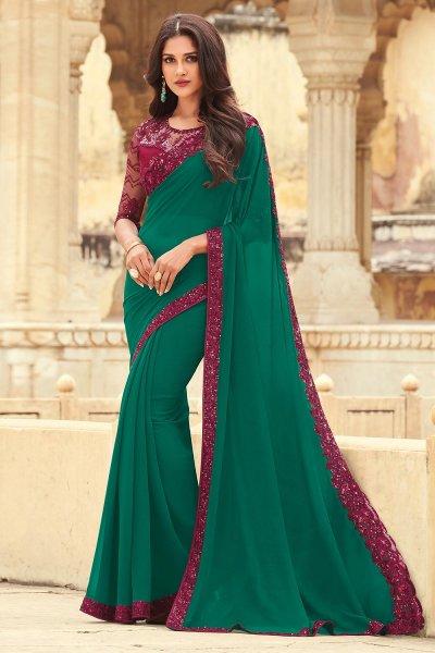 Dark Teal Green Georgette Embellished Designer Saree