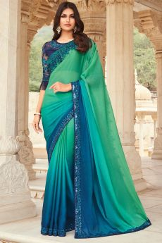 Sea Green And Blue Silk Embellished Designer Saree