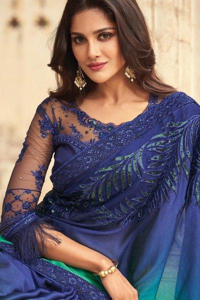 Sea Green And Navy Blue Silk Embellished Designer Saree