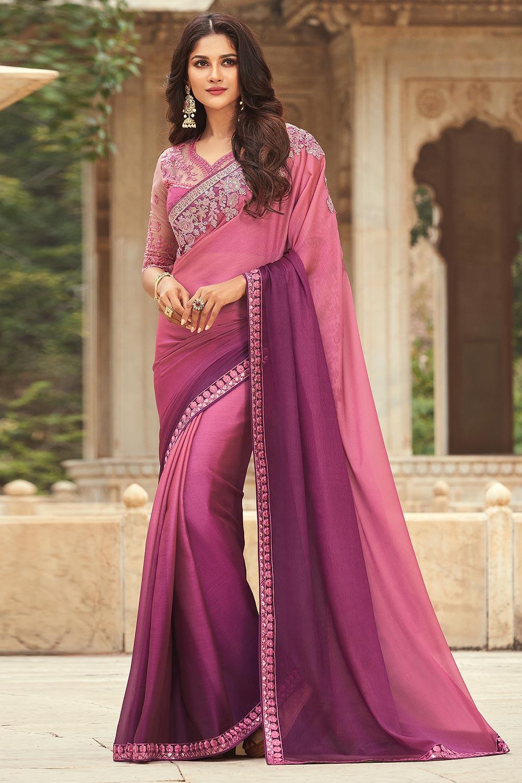 Blush Pink & Purple Silk Embellished Designer Saree
