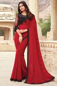 Red Georgette Embellished Designer Saree