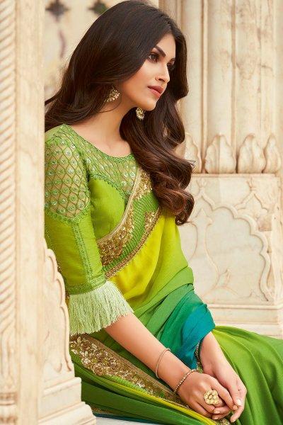 Lime  & Teal Green Silk Embellished Designer Saree