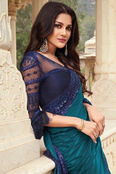Teal Blue Silk Embellished Designer Saree