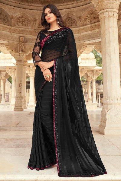 Black Silk Embellished Designer Saree