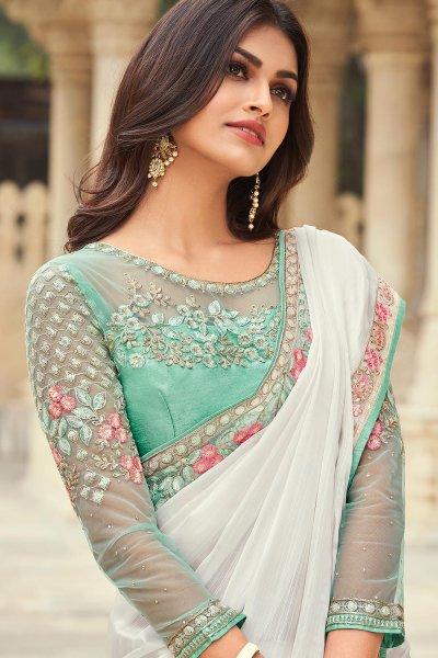White Silk Embellished Designer Saree
