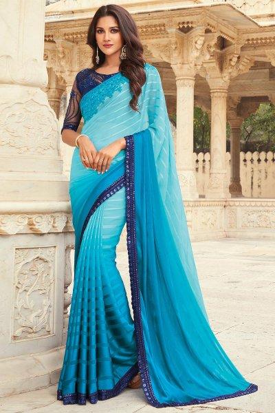 Sky Blue Silk Embellished Designer Saree