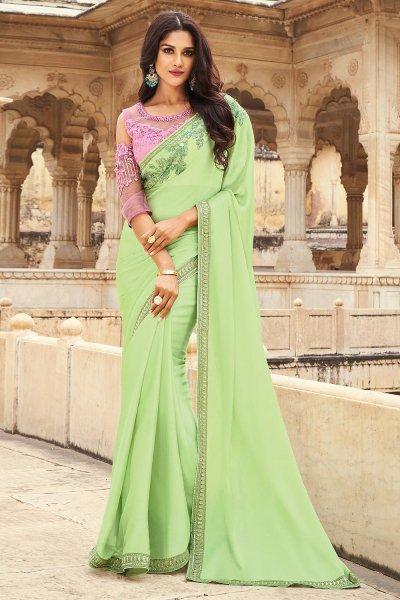 Pista Green Silk Embellished Designer Saree