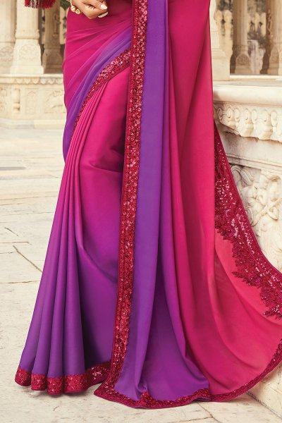 Magenta & Purple Silk Embellished Designer Saree