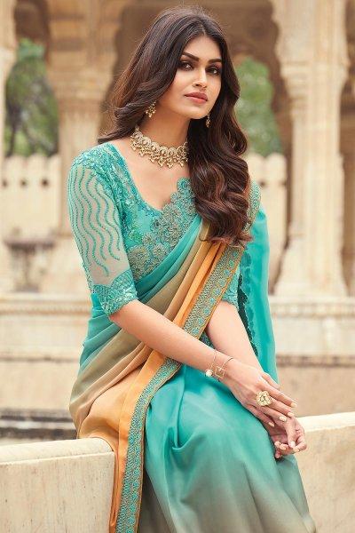 Peach & Blue Silk Embellished Designer Saree