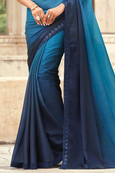 Blue & Navy Blue Silk Embellished Designer Saree