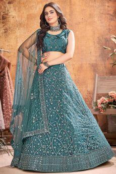 Teal Designer Embellished Soft Net Lehenga