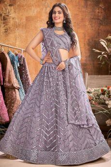 Lavender Designer Embellished Soft Net Lehenga
