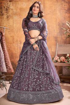 Lilac Designer Embellished Soft Net Lehenga