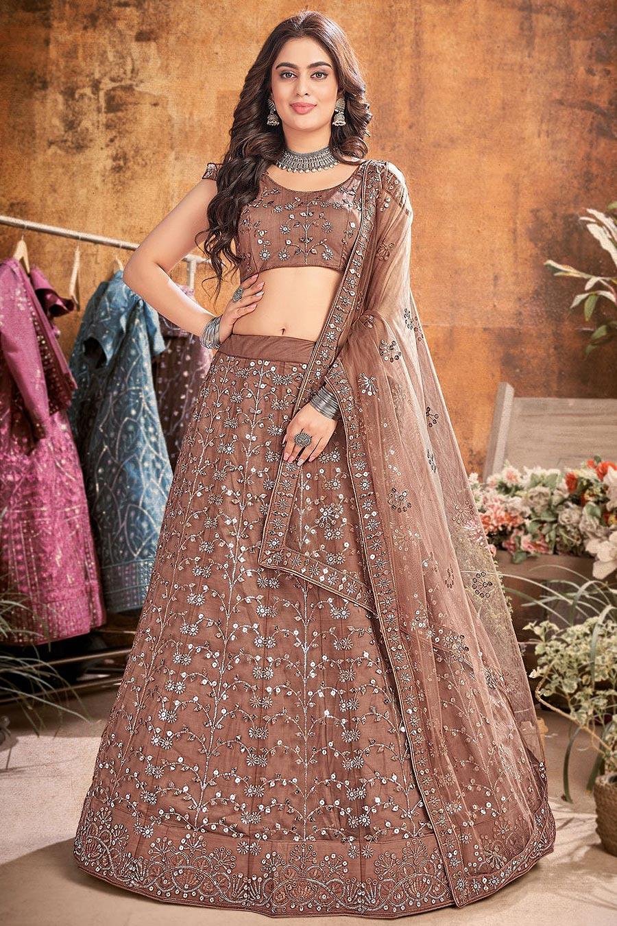 Brown Designer Embellished Soft Net Lehenga
