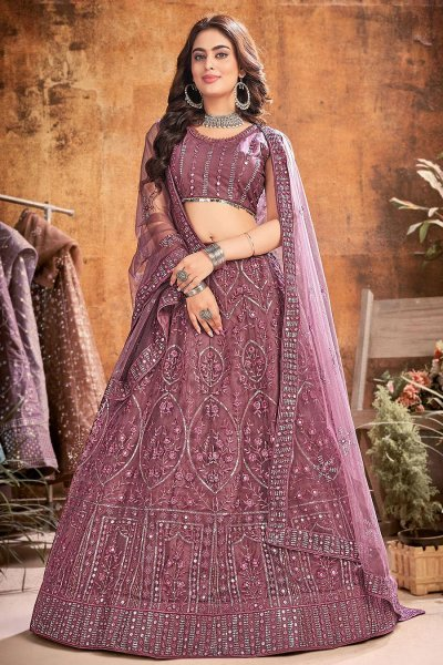 Dark Mauve Designer Embellished Soft Net Lehenga