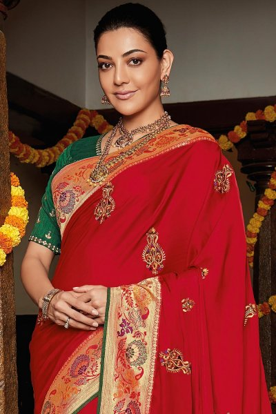 Red Party Wear Woven Silk Saree