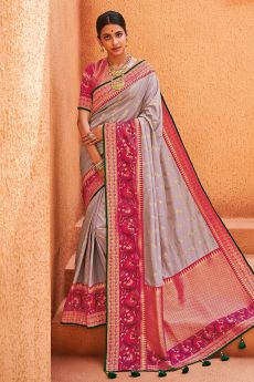 Lavender & Pink Party Wear Woven Silk Saree