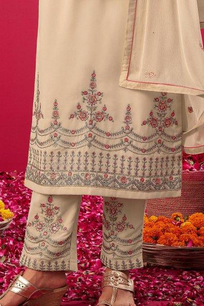 Off White Embroidered Georgette Kurta & Pant Set