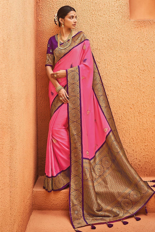 Pink & Purple Party Wear Woven Silk Saree