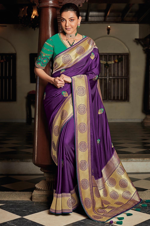 Purple Party Wear Woven Silk Saree