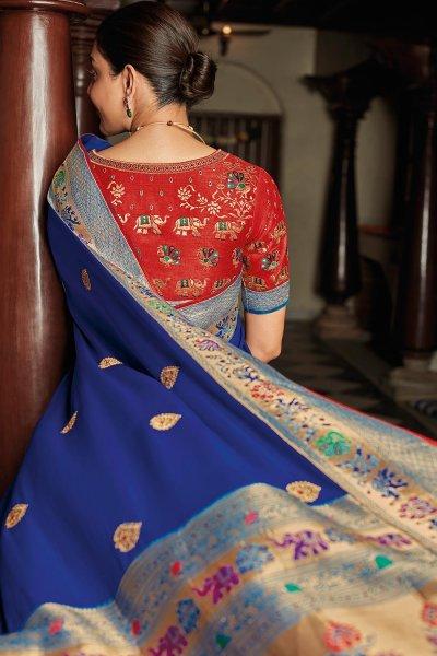 Royal Bluee Party Wear Woven Silk Saree