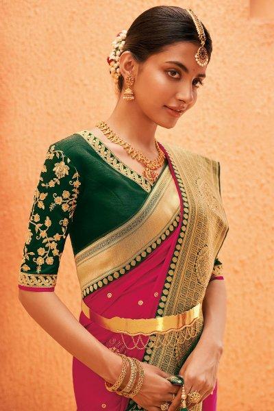 Magenta Party Wear Woven Silk Saree