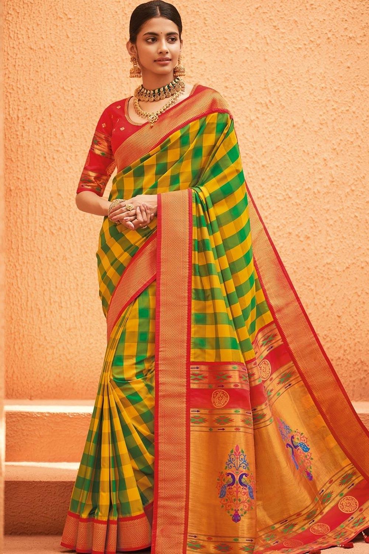 Green & Yellow Multicolour Party Wear Woven Silk Saree