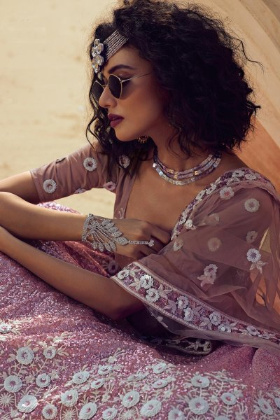 Lilac  Embroidered Net Lehenga Choli Set