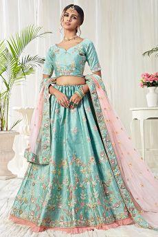 Light Blue Intricate Embroidered Silk Lehenga Choli