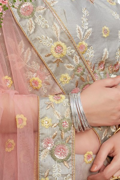 Light Grey Intricate Embroidered Silk Lehenga Choli