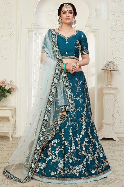 Peacock Blue Intricate Embroidered Silk Lehenga Choli