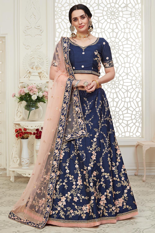 Navy Blue Intricate Embroidered Silk Lehenga Choli