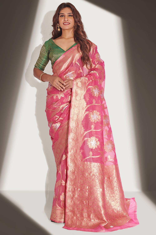 Pink Organza Banarasi Weaved Saree