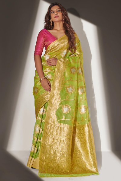 Lime Green Organza Banarasi Weaved Saree