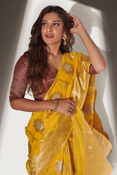 Yellow Organza Banarasi Weaved Saree