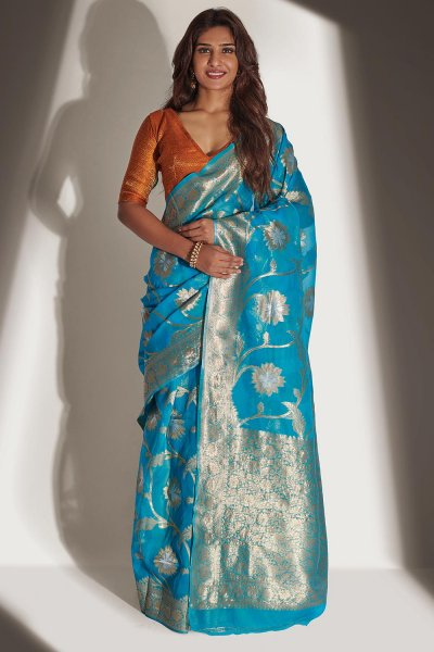 Blue Organza Banarasi Weaved Saree