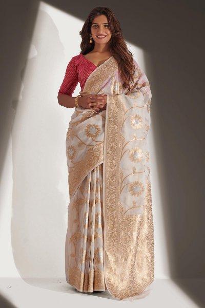White Organza Banarasi Weaved Saree