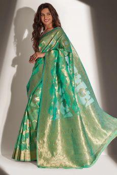 Sea Green Organza Banarasi Weaved Saree