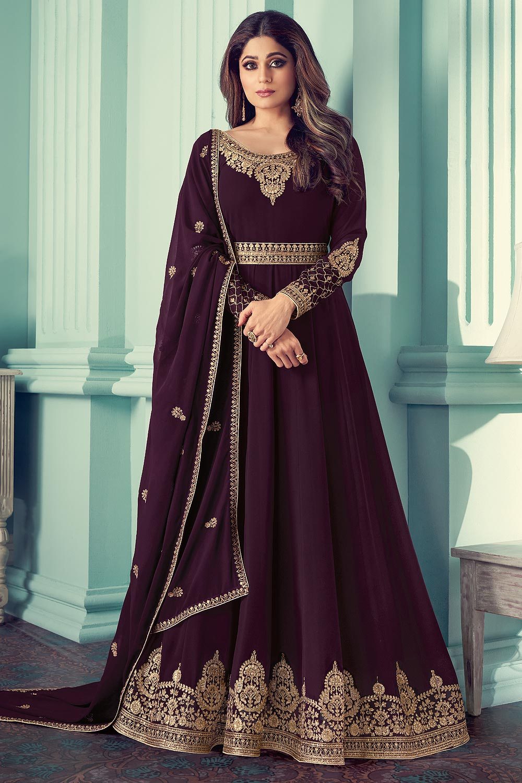 Plum Georgette Zari Embroidered  Anarkali Suit