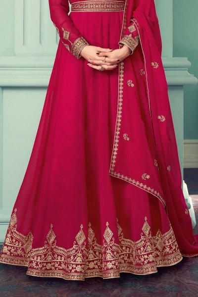 Pink Georgette Zari Embroidered  Anarkali Suit