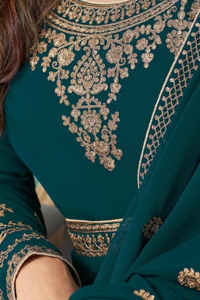 Teal Georgette Zari Embroidered  Anarkali Suit