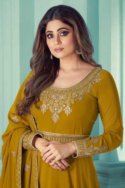 Mustard Yellow Georgette Zari Embroidered  Anarkali Suit