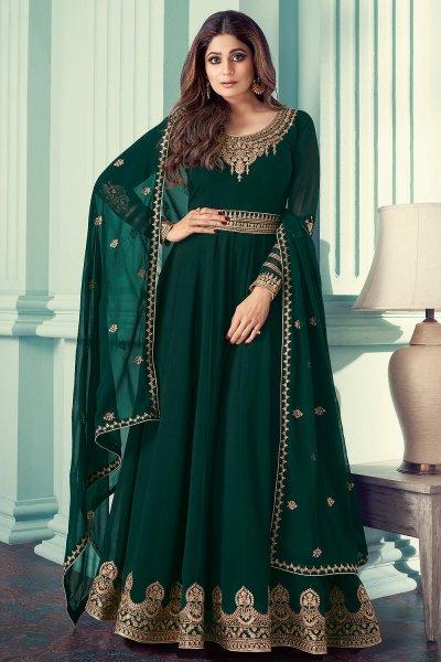 Bottle Green Georgette Zari Embroidered Anarkali Suit