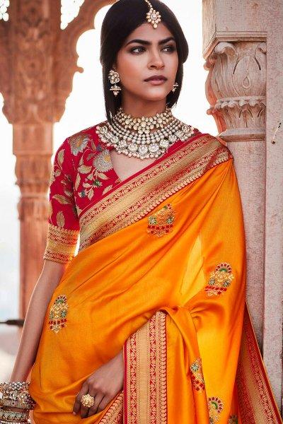 Orange Silk Embroidered Saree