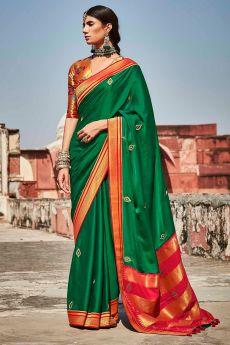 Dark Green Silk Embroidered Saree